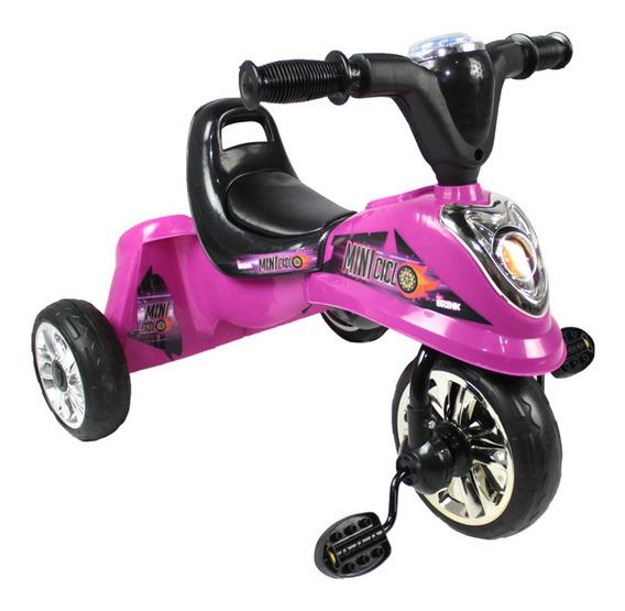 Miniciclo Triciclo Infantil Toca Música Luz Rosa Bel Brink