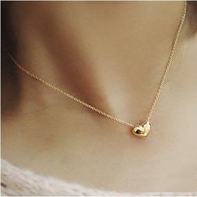 Gargantilha Com Coração Bijouteria Dourada