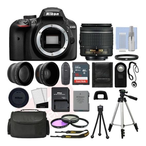 Nikon D3400 Camara Nikon Kit Fotografico Profesional + Acc