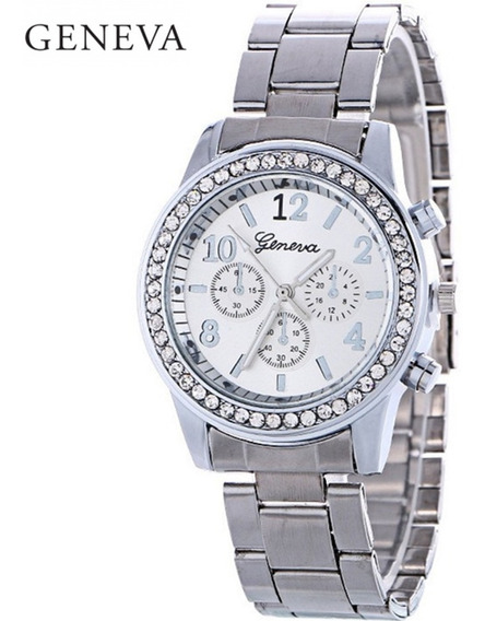 Relógio Feminino Geneva Prata Com Strass De Aço Oferta