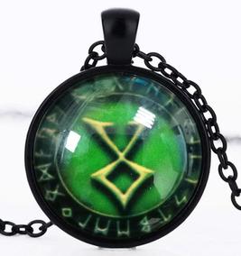 Colar Unissex Cabochão Nórdico Viking Runa Amuleto Odin