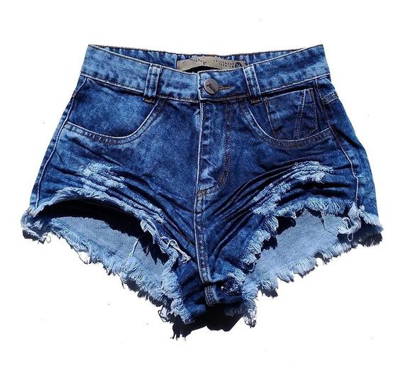 Shorts Jeans Manchado Feminino Cintura Alta Hot Pants St006