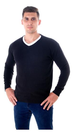 Blusa Suéter Masculino Decote V Tricot 100% Algodão
