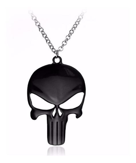 Colar Justiceiro Black The Punisher Caveira Metal Marvel