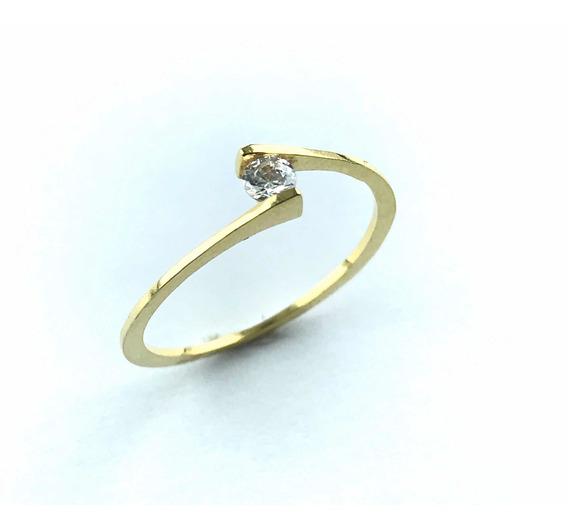 Anel Solitário Ouro 18k 1 Zirconia 3,00 Mm 03-104 (r)