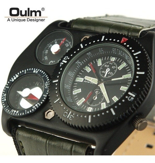 Relógio Forças Termómetro Bússola Masculino Militar Oulm