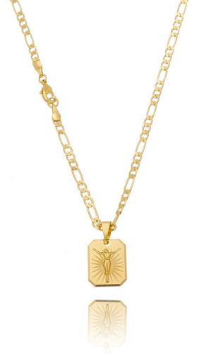 Imagem 1 de 3 de Corrente Masculina 3x1 Banhada Ouro Cordao Ping Placa Cristo