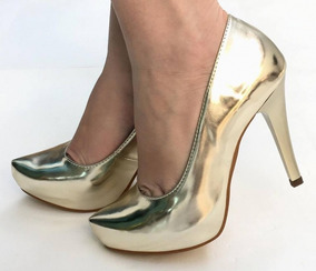 4e42d3e36f Scarpin Dourado Meia Pata - Sapatos no Mercado Livre Brasil