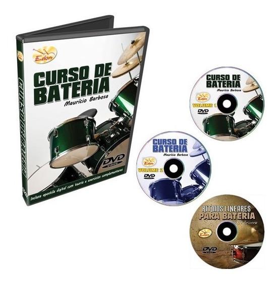 Coleção Curso De Bateria Em 3 Dvds - Edon - Original