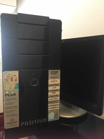 Computador Com Fonte, Teclado, Mouse E Monitor.