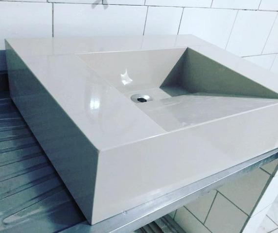 Pia De Banheiro Com Cuba Esculpida Em Porcelanato Beje 60x45