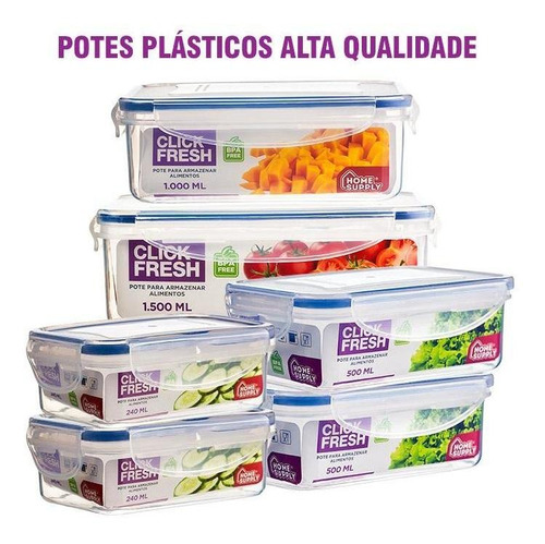 Imagem 1 de 2 de Kit 6 Potes Plásticos 100% Herméticos Qualidade Click Fresh