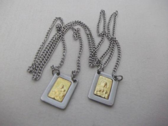 B. Antigo - Escapulário Aço Inox Esfiges Folhada A Ouro