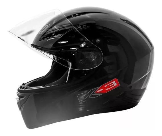 Casco Agv K3 Basic Solid Black Solo En Rpm-1240