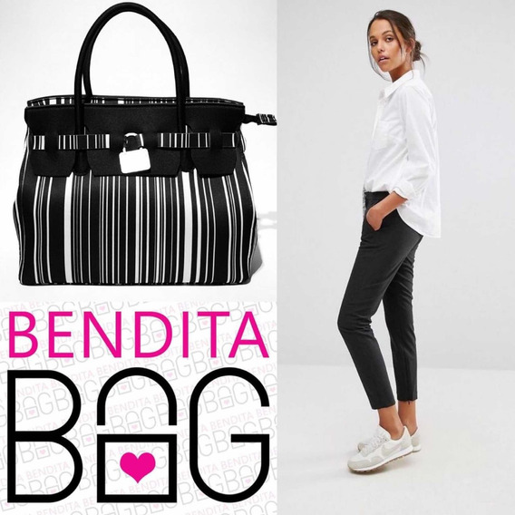 Cartera Bendita Bag L Rayas Blanco Y Negro