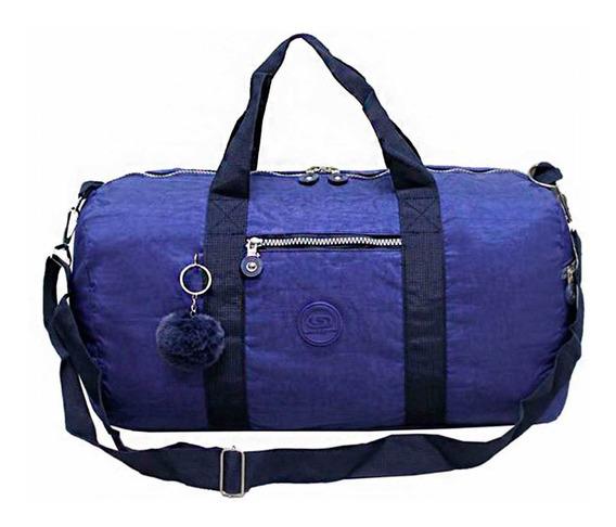 Sacola Bolsa De Viagem Com Pompom Azul Marinho Cruzeiro