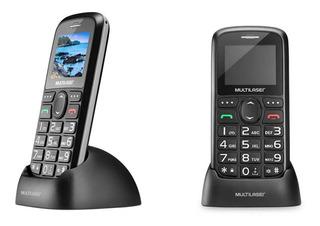 Celular Telefone Radio Fm Lanterna Idoso + Base Carregadora