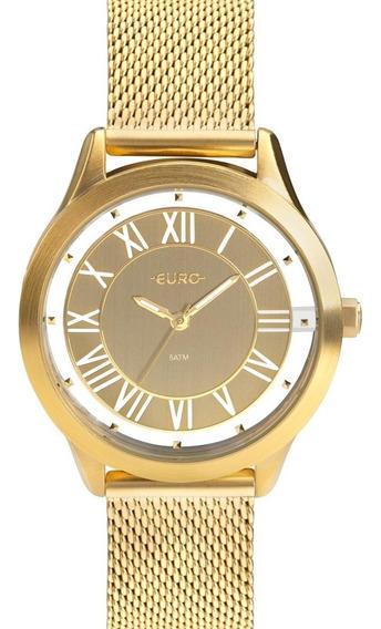Relógio Feminino Euro Ouse Ser Você Eu2039jh/4d Aço Dourado