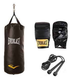 Bolsa Boxeo Everlast Guantin Soporte Y Soga Combo Box Kit