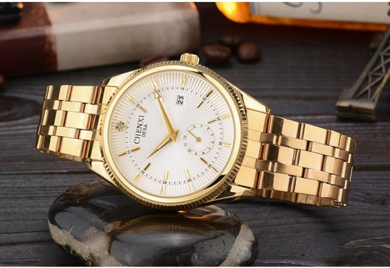 Relógio De Pulso Dourado Chenxi Feminino De Alta Qualidade