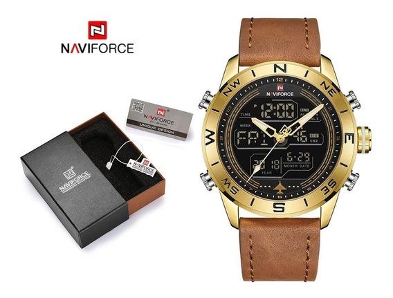 Relógio Masculino Original Pulseira De Couro Caixa Aço Inox