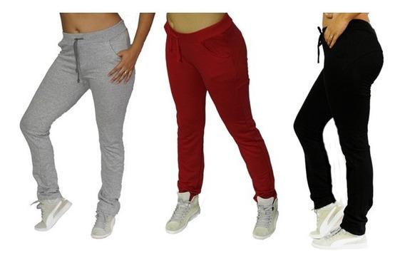 Calça De Moletom Feminino Skinny Slim Sport Casual