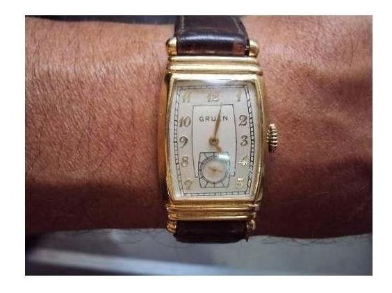 Reloj Hombre ¨gruen¨ Curvo Oro Baño 18 K Vintage Mecanico