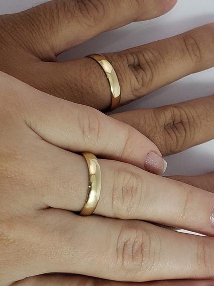 Par De Alianças Ouro 18k Tradicional Meia Cana + 1 Brinde