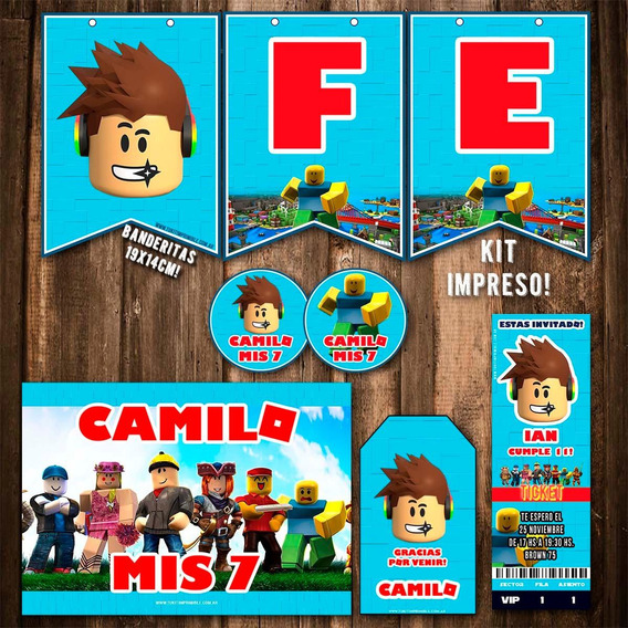 Kit Roblox Invitaciones Banderín Stickers Cartel Impreso