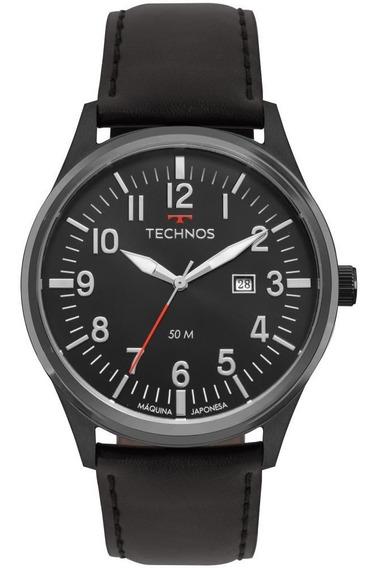 Relógio Masculino Technos Steel 2115mtc/2p 46mm Couro Preto