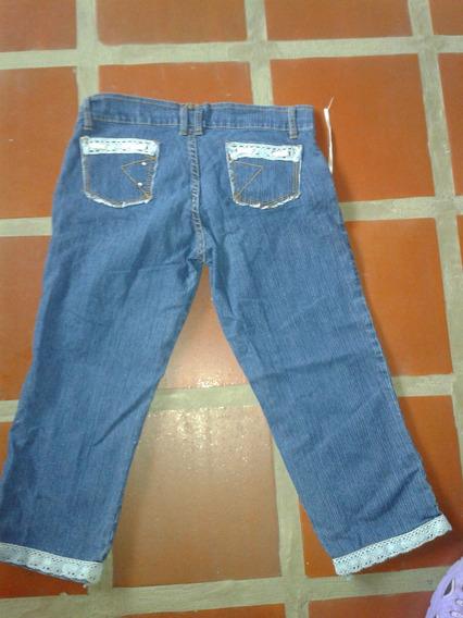 Pantalon Para Damas Capri En Jeans Talla 10 Con Bolsillos