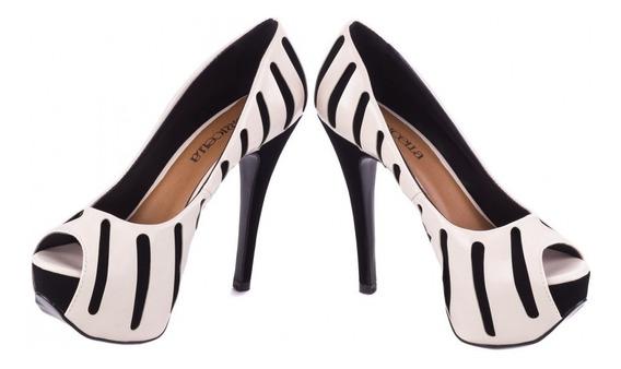 Sapato Meia Pata Preto E Branco Salto Alto Panicat