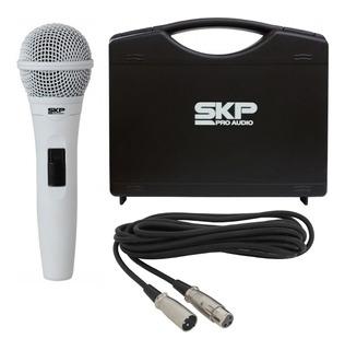 Microfone Vocal Profissional Branco Skp Pro92 Cápsula Alemã