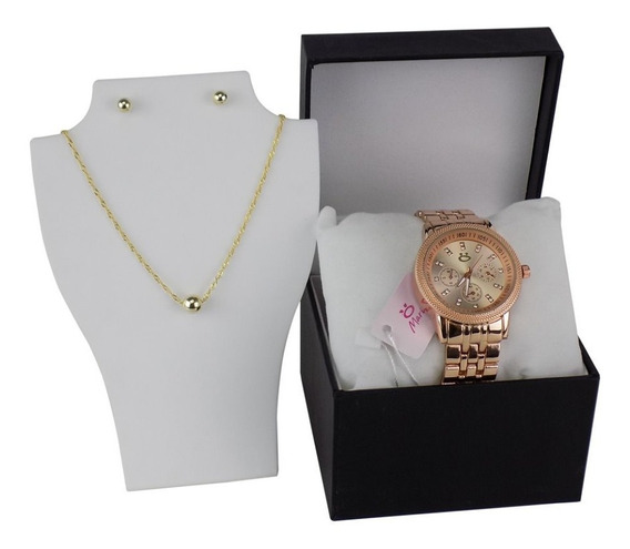 Relógio Feminino Original Orizom Dourado + Colar Brinco Nfe
