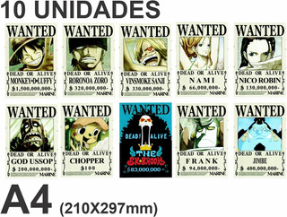 10 Cartazes De One Piece Wanted Poster A4 Papel Fotográfico