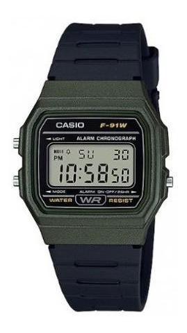 Relógio Casio F-91 W Alarme F-91wm-3adf Original Verde