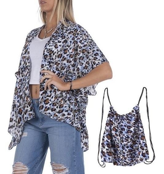 Kimono Playero Con Mochilita Por 6 Unidades Calidad Premium