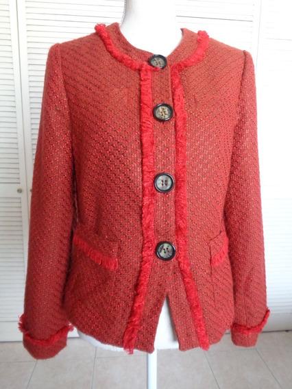 Saco Blazer Chaus Talla 6 Usa, Tweed, Hermoso, Luce Como Nvo
