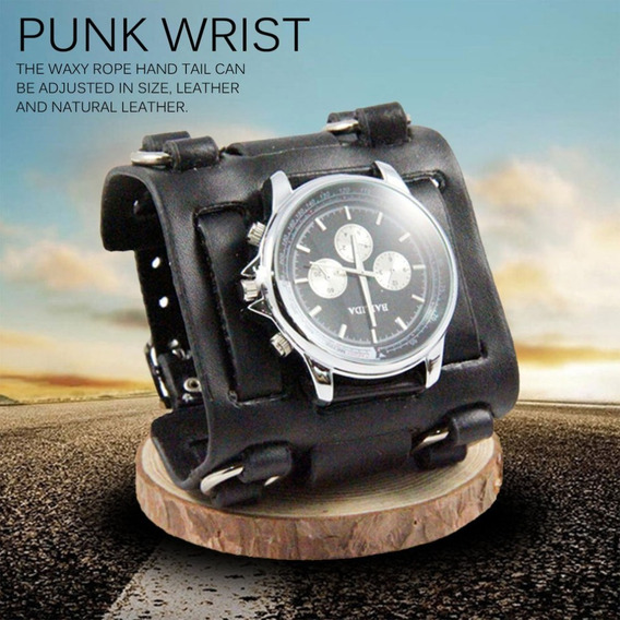 Relógio Bracelete Masculino Couro Largo 3 Fivelas Moto Rock