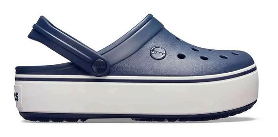 Crocs Crocband Plataforma Clog Navy/white Originales (1102)