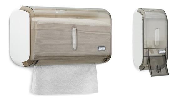 Kit Disp. Papel Interfolha + Sabonete Liquido Compacto Fumê.
