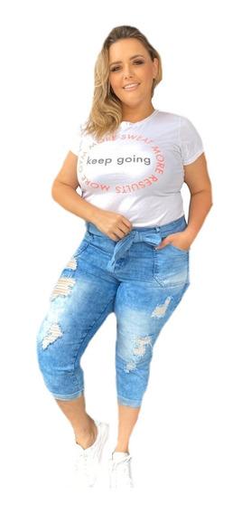 Calça Capri Jeans Plus Size Rasgada E De Cintura Alta