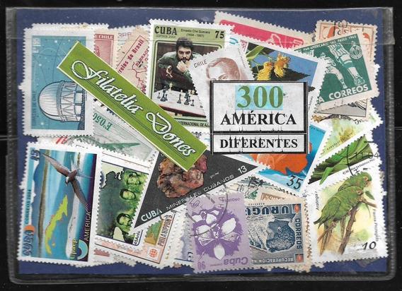 América - Paquete De 300 Estampillas Diferentes Usadas