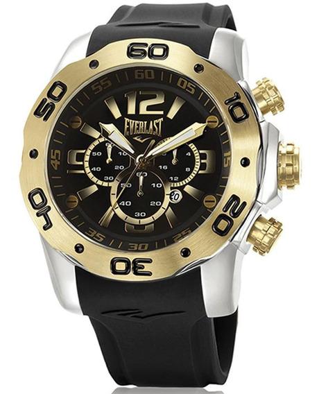 Relógio Everlast Masculino E551 Big Case Cronógrafo Bicolor