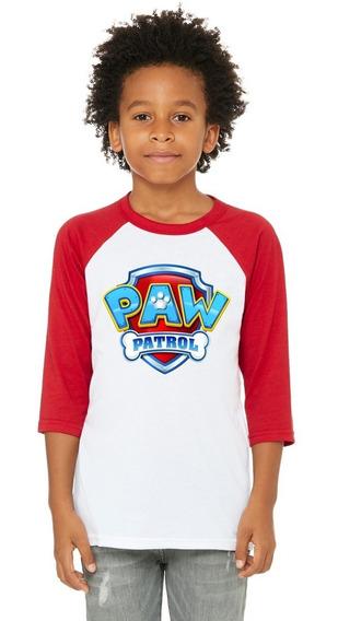 Playera 3/4, Blanco Con Rojo, Paw Patrol, Niño