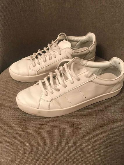 Zapatillas De Cuero Blancas Zara Nro 39/40