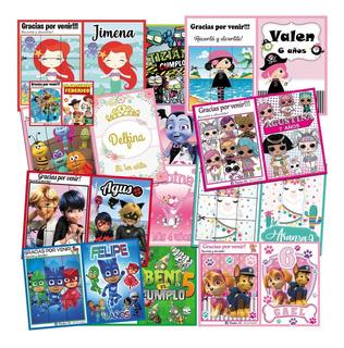 Libritos Colorear Pintar Personalizados X20u. Con Stickers