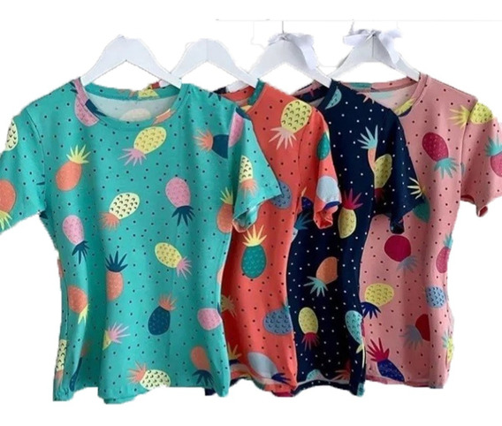 Kit 6 Blusinha Estampada Abacaxi Tshirt Camiseta Viscolycra