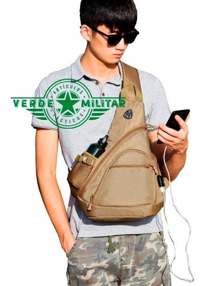 Mochila Tactica Militar Cruzada Pechera Bolsa Mariconera Usb