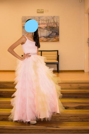 Vestido De 15 Con Pollera Desmontable Larga Y Corta